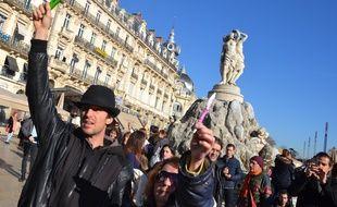 Manifestation à Montpellier pour Charlie Hebdo, ce jeudi midi.