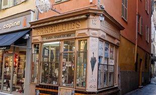 La boutique de Gino Bestagno, rue de la Préfecture à Nice.