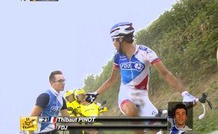 Thibaut Pinot s'en prend à un mécanicien lors de la 4e étape du Tour de France, le 7 juillet 2015.