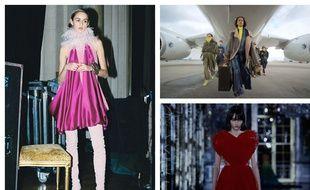 Images extraites des défilés virtuels de la saison, Lanvin à gauche, Balmain en haut à droite, Dior en bas à droite.