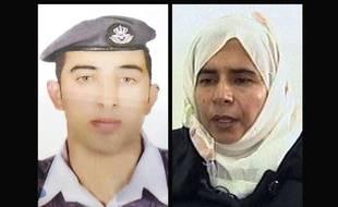 Montage de photographies du pilote jordanien  Maaz al-Kassasbeh (G), retenu par Daesh, et de la djihadiste irakienne Sajida al-Rishawi, que Daesh souhaite voir libérer.