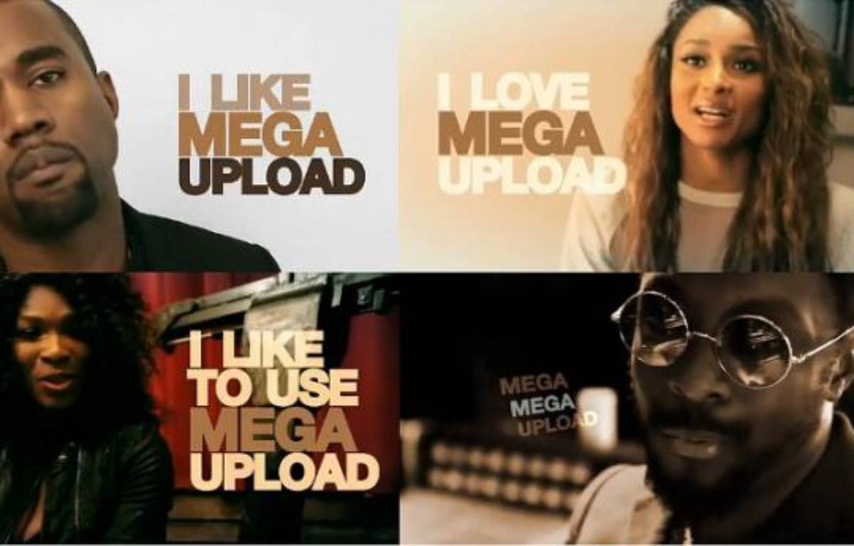 Une campagne marketing du site MegaUpload, dans laquelle on trouve notamment Kanye West, Ciara, Sera Williams et Will.i.am. – PHOTOMONTAGE/20MINUTES