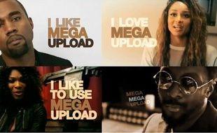 Une campagne marketing du site MegaUpload, dans laquelle on trouve notamment Kanye West, Ciara, Sera Williams et Will.i.am.