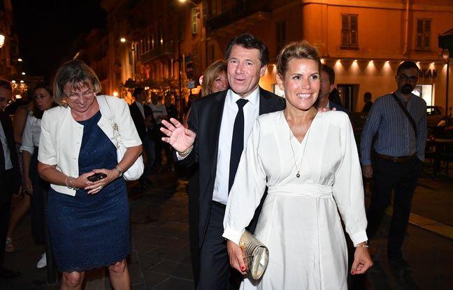 Christian Estrosi et sa femme Laura Tenoudji-Estrosi, le soir du second tour des élections municipales, le 28 juin 2020