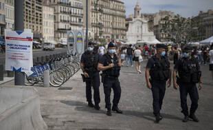 Des policiers à Marseille, le 18 août 2020.