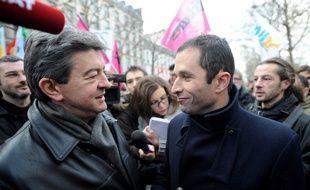 Jean-Luc Mélenchon et Benoît Hamon lors d'une manifestation à Paris le 21 janvier 2010