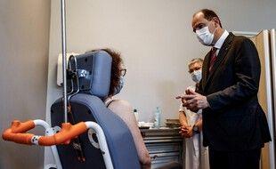 Jean Castex à Caen dans un centre de vaccination, le 16 avril 2021.