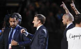 Alexandre Benalla et Emmanuel Macron, le 17 avril 2017.