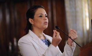 La vice-présidente du Guatemala Roxana Baldetti, lors d'une conférence de presse le 19 avril 2015 à Guatemala City