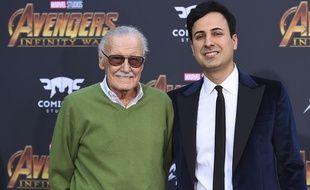 Stan Lee et Keya Morgan, le 23 avril 2018 lors de l'avant-première de «Avengers: Infinity War» à Los Angeles.