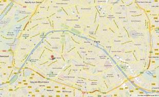 Illustration Google Map du 15e arrondissement de Paris, réalisée le 29 décembre.