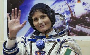 Samantha Cristoforetti, la première femme italienne à aller dans l'espace, avant le lancement de la fusée Soyouz le 23 novembre 2014.