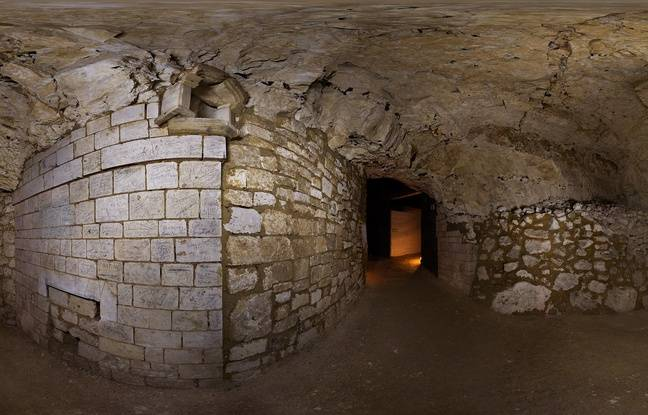 Salle Allslop dans les souterrains de Naours dans la Somme. © Denis Gliksman, Inrap