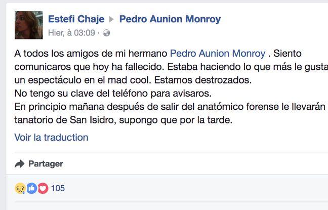 Capture d'écran du message laissé par la soeur de Pedro Aunion sur sa page Facebook le 8 juillet 2017.