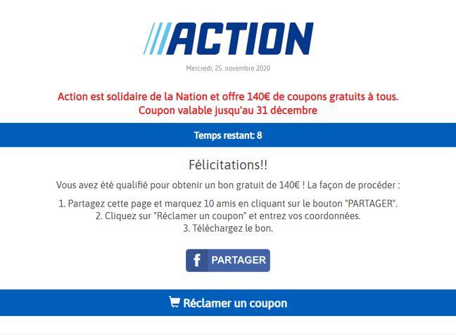 Relayée sur Facebook, un formulaire douteux prétend permettre de gagner 140 euros de bons d'achat valable chez Action.