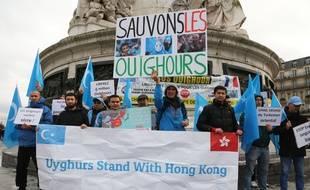 Paris, manifestation contre la pression de gouvernement Chinois sur  les Ouighours.  France le 12 Janvier 2020.