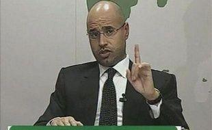 Saif al-Islam, le fils du colonel Mouammar Khadafi, lors de son discours à la télévision lybienne, le 20 février 2011.