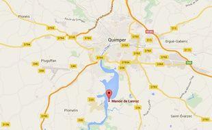 Plan de situation du manoir de Lanroz à Quimper.