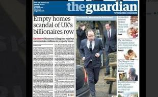 Capture écran de la une du journal britannique «The Guardian».