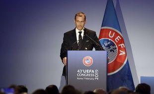 Aleksander Ceferin, le président de l'UEFA, ici lors d'un congrès à Rome en février 2019.