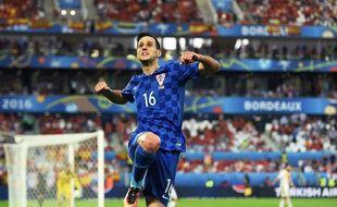 Le Croate Kalinic célèbre son but face à l'Espagne, le 21 juin.