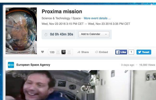 Capture d'écran du livestream de l'ESA