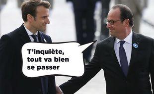 Photomontage. Paris, le 8 mai 2017. François Hollande et Emmanuel Macron lors de la traditionnelle cérémonie du 8 mai