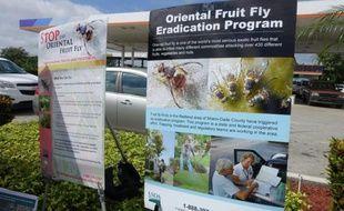 Un panneau informatif à l'extérieur d'une station service indique comment se débarrasser de la mouche orientale des fruits, le 7 octobre 2015, en Floride