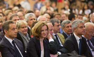 (de g. à d.) Nicolas Sarkozy, Nathalie Kosciusko-Morizet, Philippe Goujon et Laurent Wauquiez, le 7 novembre 2014 à Paris.
