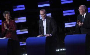 Candidats à la présidence de la Commission européenne, la Danoise Margrethe Vestager (libérale), l'Allemand Manfred Weber (droite proeuropéenne) et le Néerlandais Frans Timmermans (social-démocrate) ont participé à un débat, le 15 mai 2019.