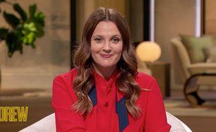 L'actrice Drew Barrymore sur le plateau de sa nouvelle émission, The Drew Barrymore Show