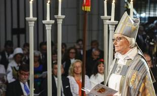 Antje Jackelén, l'archevêque de l'Eglise de Suède, lors de son ordination, le 15 juin 2014.