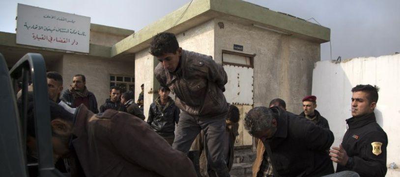 Interpellation d'un groupe suspecté proche de Daesh par l'armée irakienne en décembre 2016, au début de la bataille de Mossoul en Irak.