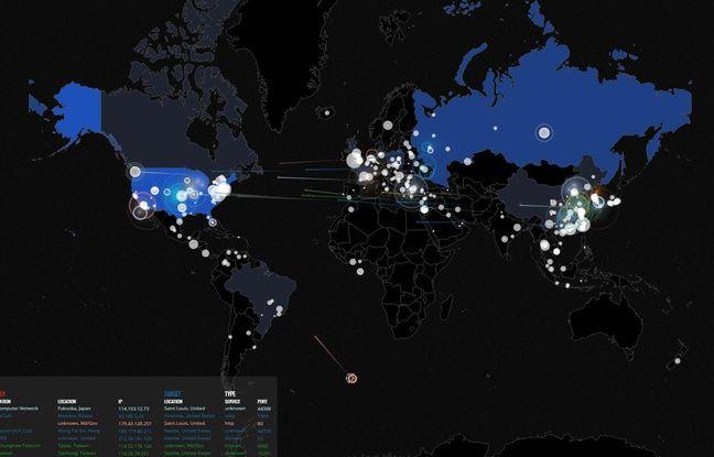 Une carte mondiale des attaques informatiques dressée par Norse Corp.