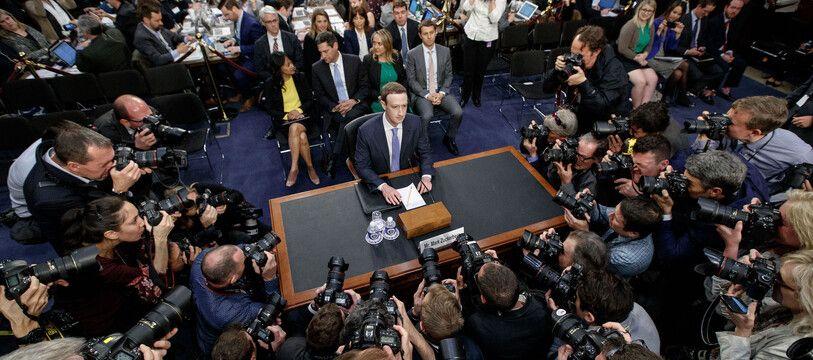 Le patron de Facebook Mark Zuckerberg, lors de son audition au Congrès américain, le 11 avril 2018.