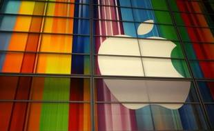 Le logo d'Apple sur le centre culturel Yerba Buena à San Francisco, aux Etats-Unis
