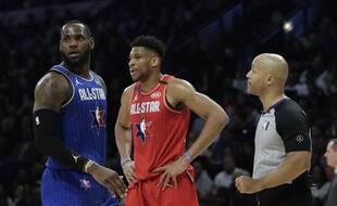 LeBron et Giannis lors du All-Star Game 2020