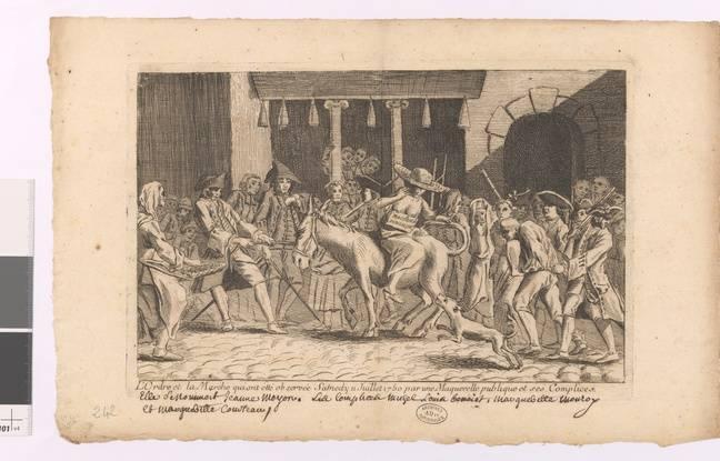 Dessin d'une mère maquerelle montée sur un âne, 1750