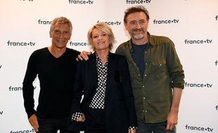 Nagui et Sophie Davant, les animateur de l'émission, et Jean-Paul Rouve, le parrain, de l'édition 2019.