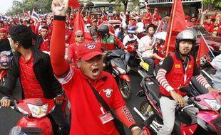 Les «chemises rouges» ont manifesté en masse le 28 mars 2010 à Bangkok en Thaïlande.