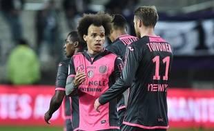 """Le capitaine du TFC  Martin Braithwaite, période """"cheveux au vent"""" à Nantes, le 5 novembre 2016."""