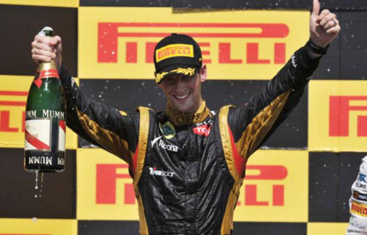 Le pilote français Romain Grosjean a terminé avec sa Lotus deuxième du Grand Prix du Canada le 11 juin 2012. – STAN HONDA / AFP