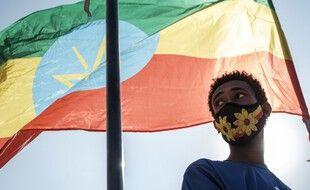 Le drapeau éthiopien. (illustration)