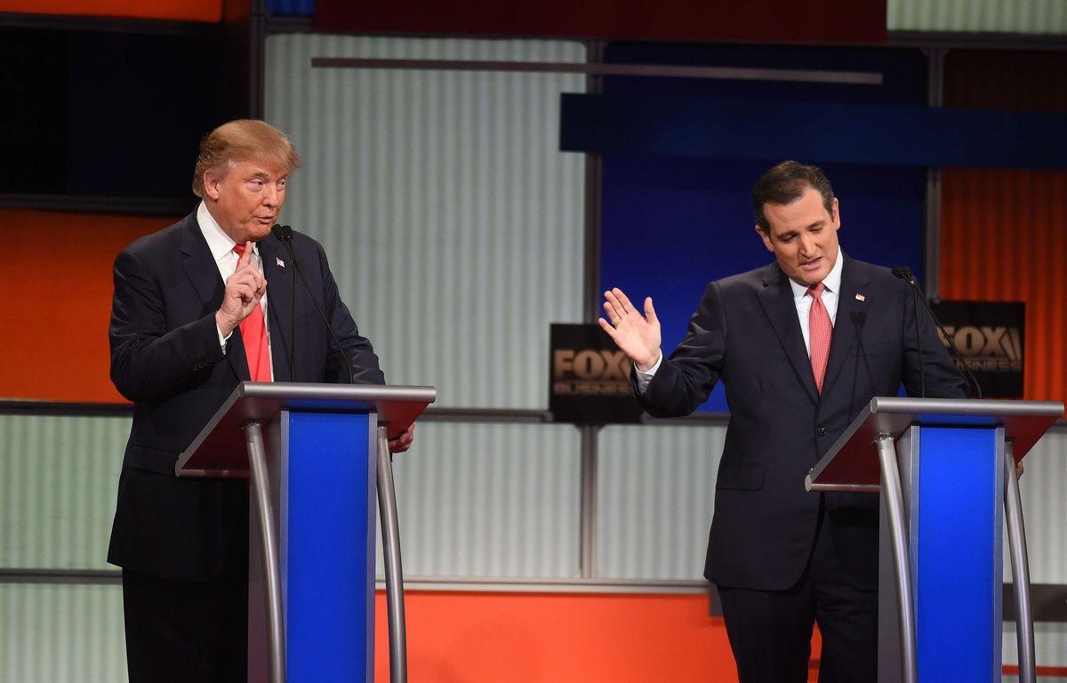 Les républicains Donald Trump et Ted Cruz, le 14 janvier 2016 lors du débat de Charleston, en Caroline du Sud. – R.ERHAHARDT/AP/SIPA