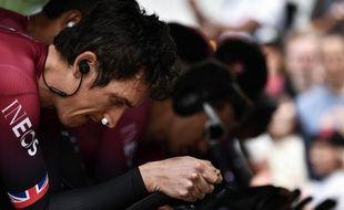 Geraint Thomas se prépare pour le contre-la-montre de la 13e étape du Tour, le 19 juillet 2019 à Pau.