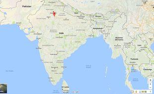Capture d'écran Google Maps de Bharatpur, dans l'état du Rajasthan (Inde).