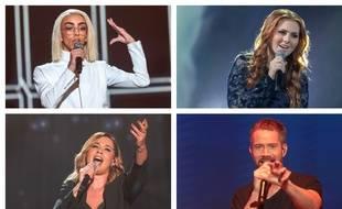 De gauche à droite et de haut en bas : Bilal Hassani, Seemone, Chimène Badi et Emmanuel Moire, quatre des huit finalistes de «Destination Eurovision» 2019.