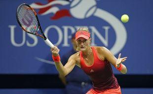 Kristina Mladenovic, lors de sa victoire en 1/8e de finale de l'US Open face à la Russe Ekaterina Makarova.