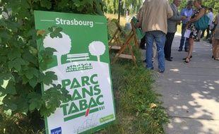 300 panneaux identiques vont être installés dans parcs de la ville. Strasbourg le 21 juin 2018.