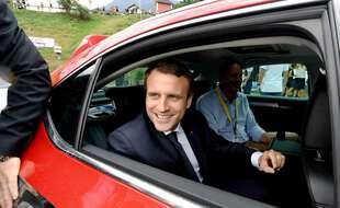 Emmanuel Macron sur le Tour de France, en juillet 2017.
